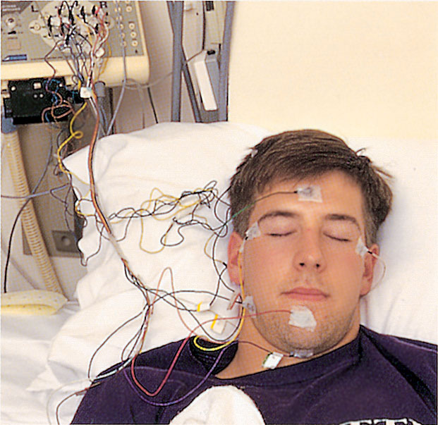 Participant hooked to EEG for sleep study